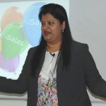 Ms. Grace Arun reveals the secrets of a successful sales career during her talk on Distribution in the Telecom Industry at Jaipuria, Lucknow
