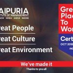 "Jaipuria Institute of Management recognized as a ""Great Place to Work"" by the Great Place To Work survey"