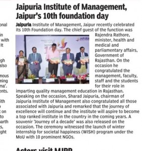 Jaipuria Institute of Management Jaipur's 10th Foundation day