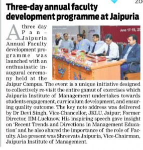 3 day annual faculty development programme at Jaipuria