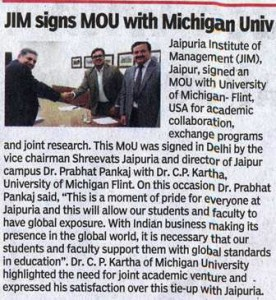 JIM sign MOU with Michigan University