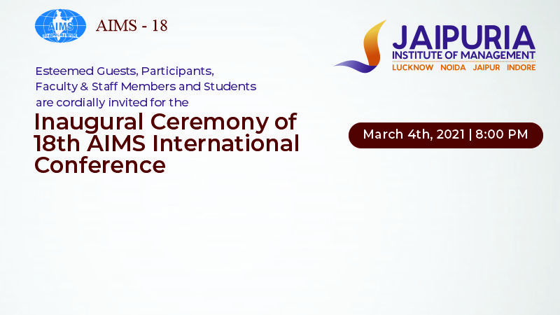 18th AIMS International Conference on Management - Jaipuria Institute of Management, Indore