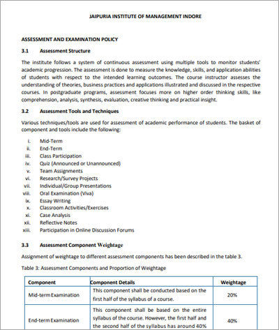 Exam-policy