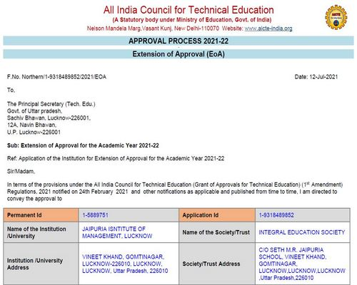 AICTE APPROVAL EOA REPORT 2021-22-Lucknow